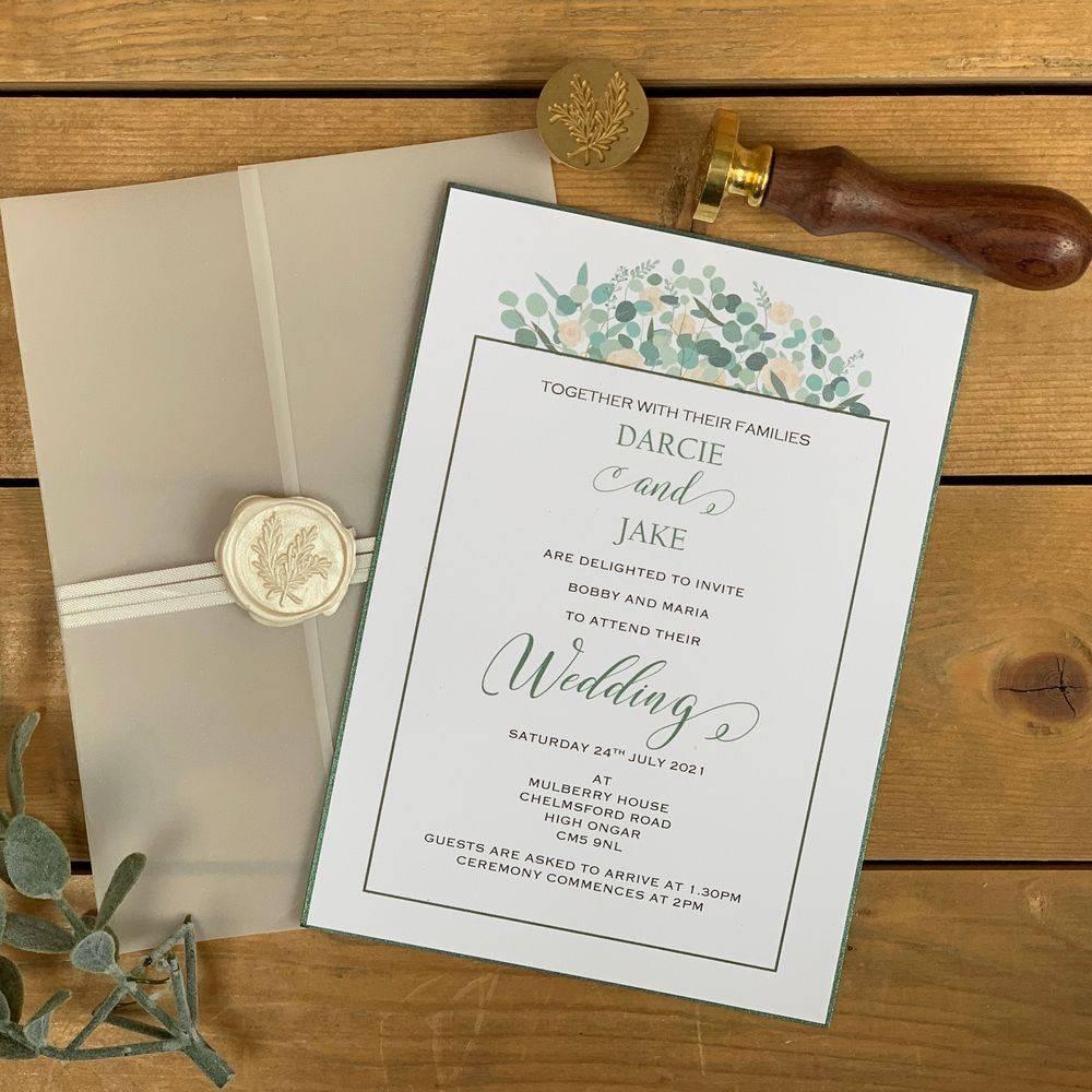 Ivory Roses and Eucalyptus, Sage Wax Sealed Invitation