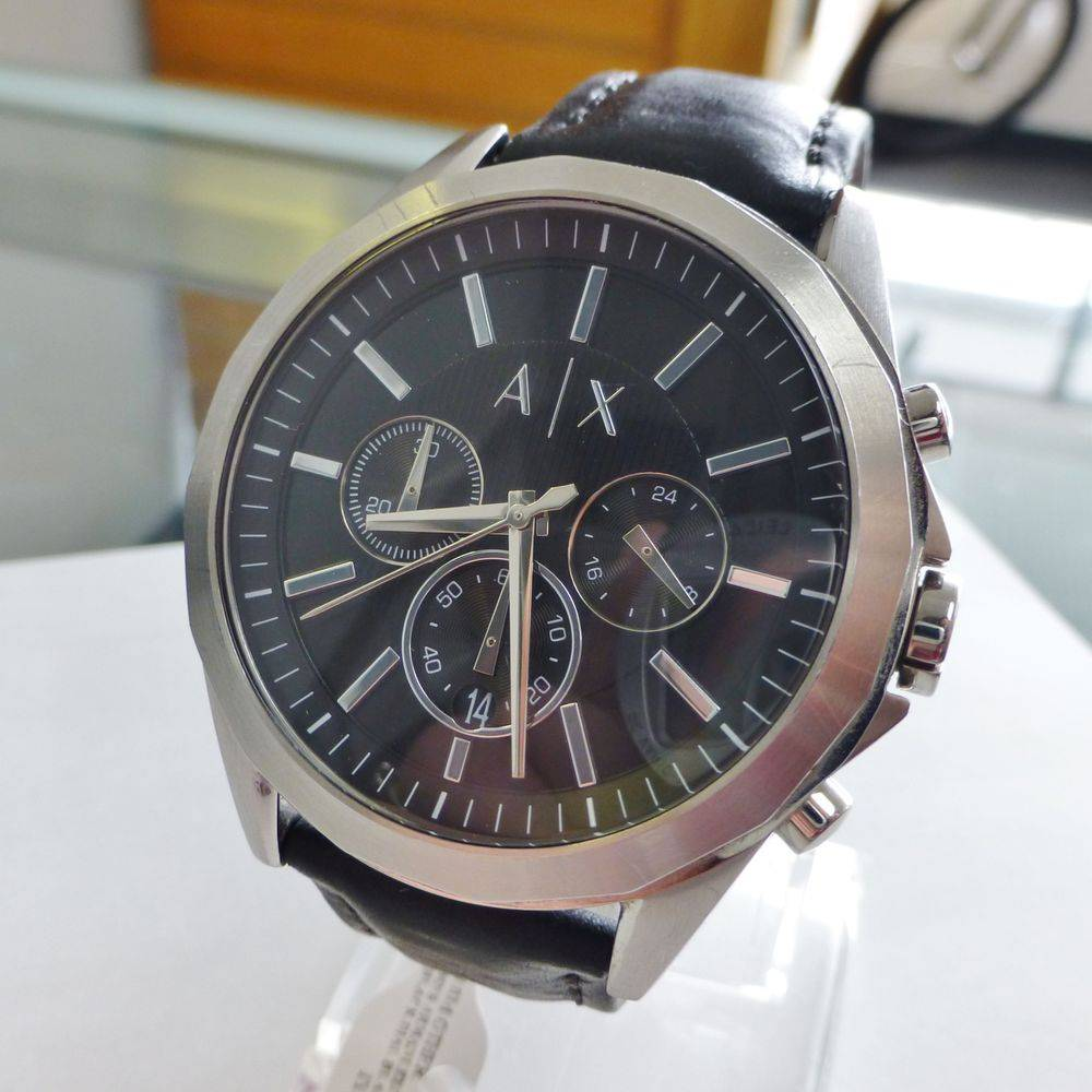 Armani Exchange leather watch with black dial