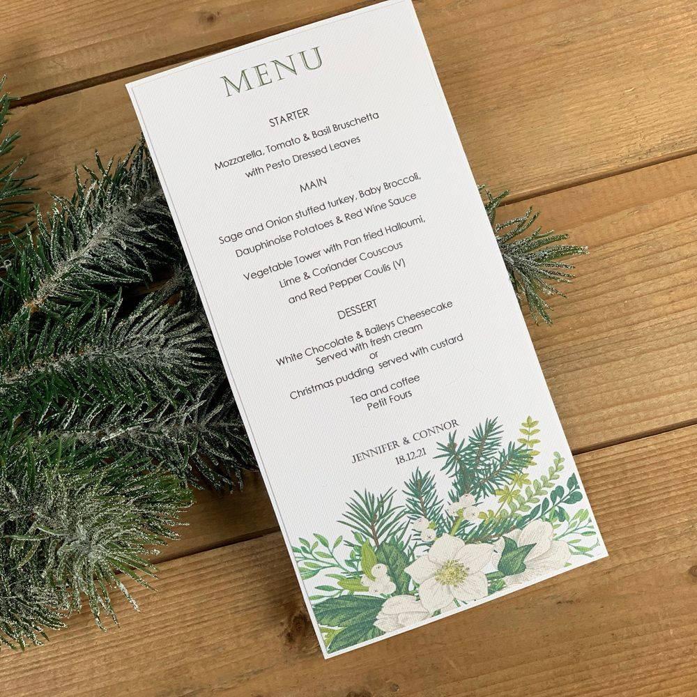 Winter/Christmas wedding Menu card
