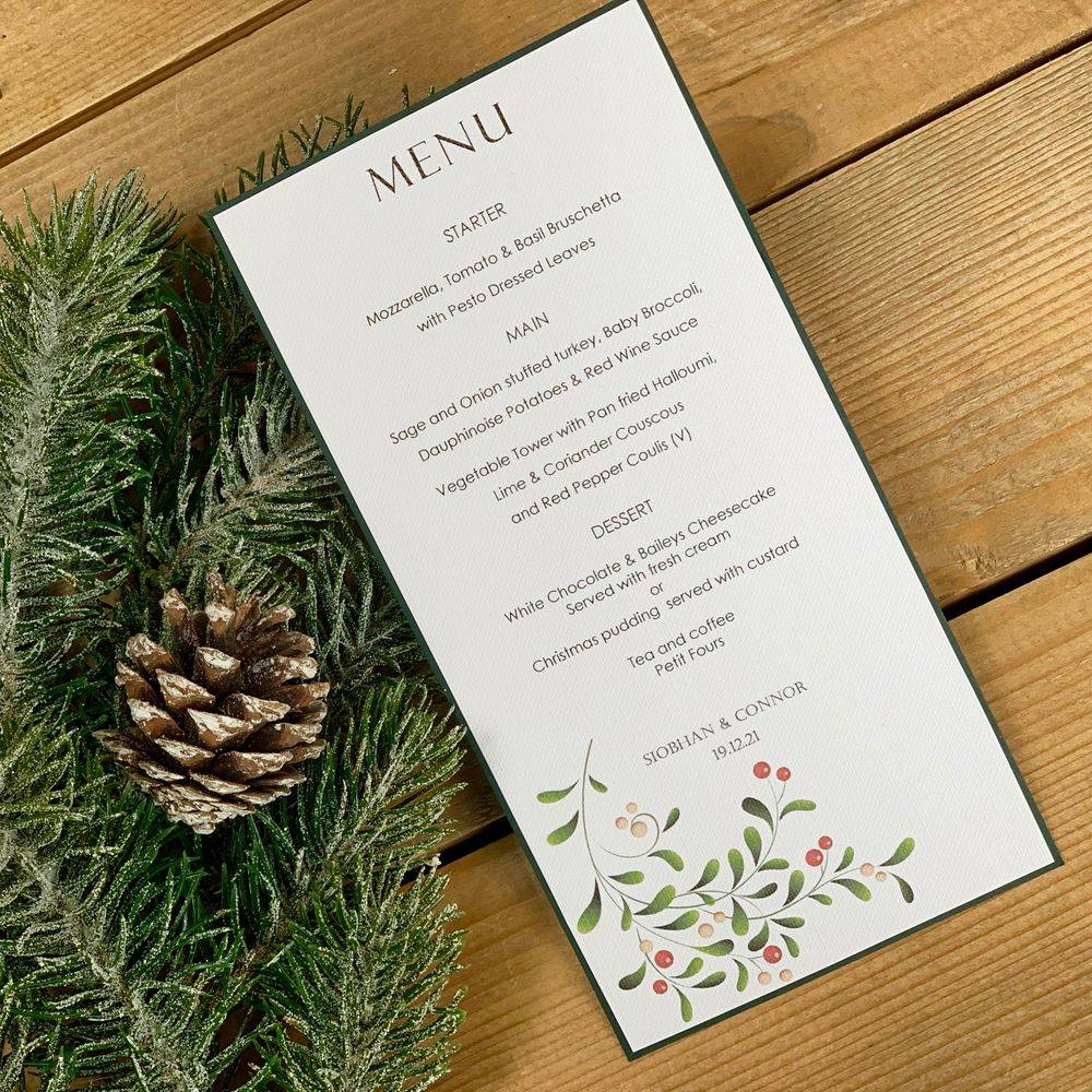 Winter/Christmas wedding Menu card