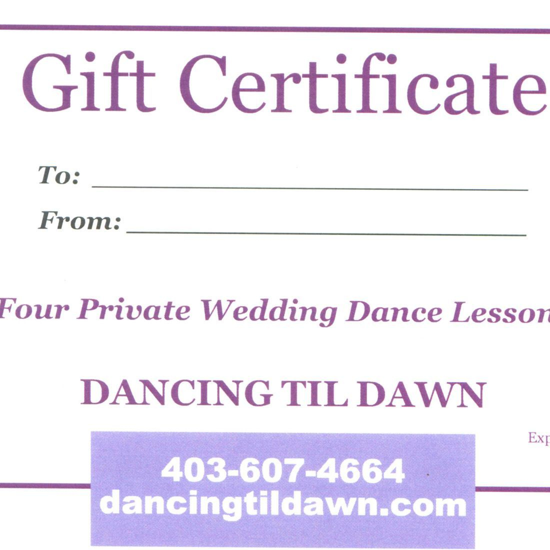 Give the gift of dance with dance lessons. Custom Gift Certificates.