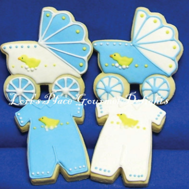 Baby Carriage Cookies - Boy Onesie Cookies