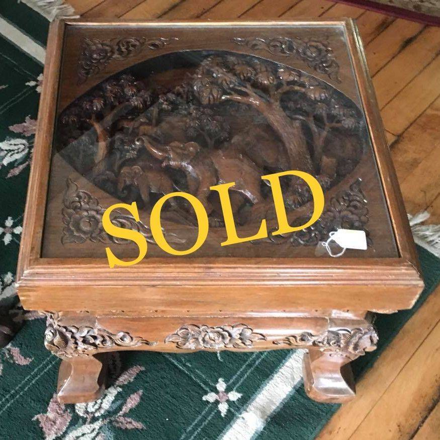 Hand-Carved Ornate Table w/Elephant Scene Table-Top Under Glass   $425.00