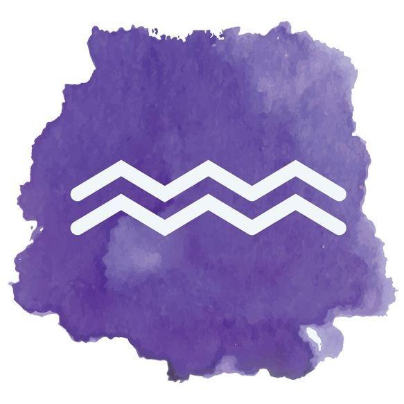 Image: watercolor Aquarius symbol