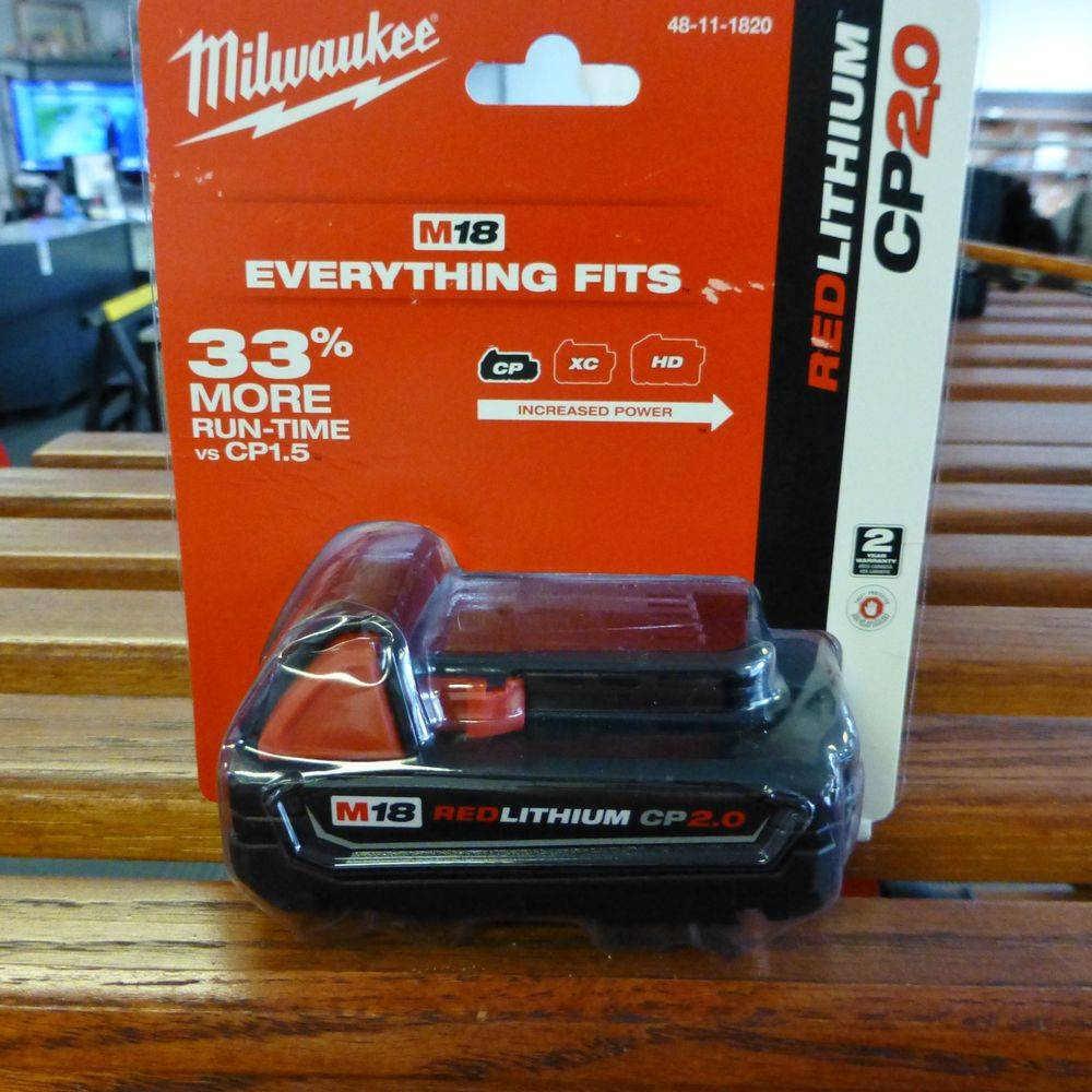 Milwaukee M18 Lithium Ion Battery in package on shelf