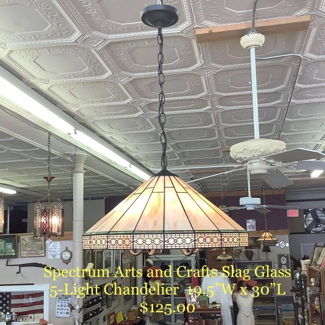 Spectrum Arts and Crafts Slag Glass 5-Light Chandelier   $125.00
