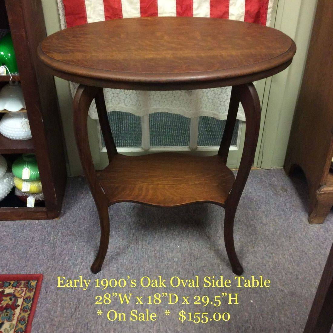 Early 1900's Oval Oak Side Table w/shelve   $155.00