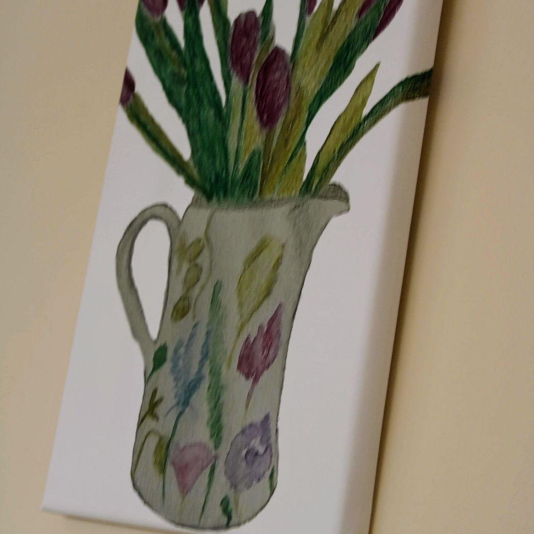 Diagonal View Canvas Jug of Tulips