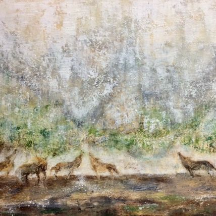 Wolf painting, painting of wolves, yellowstone painting, Montana painting, abstract landscape painting, landscape painting with wolves, oil and cold wax medium painting, mixed media artist, ethereal painting, midwest painting