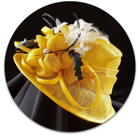 Yellow hat with decorations