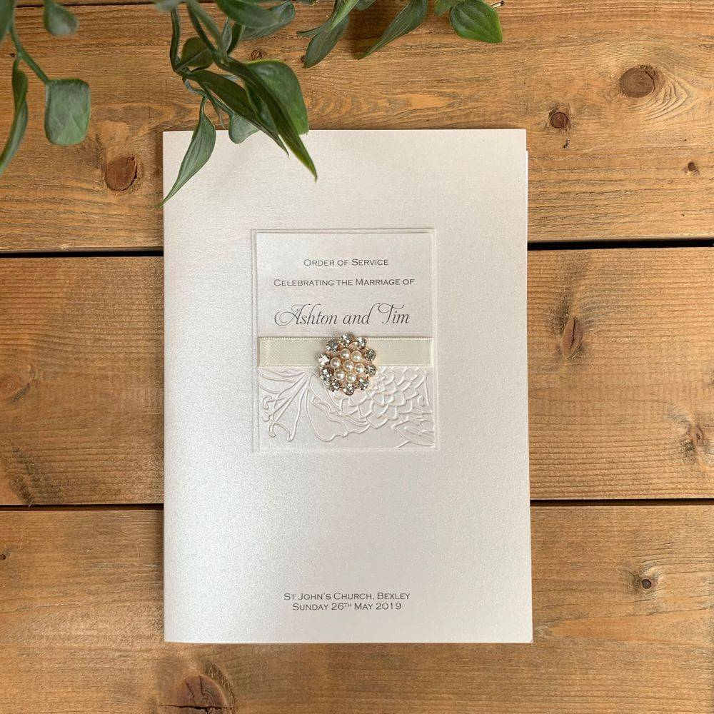 Luxury Wedding Order of Service Booklet, ivory with pearls and crystals