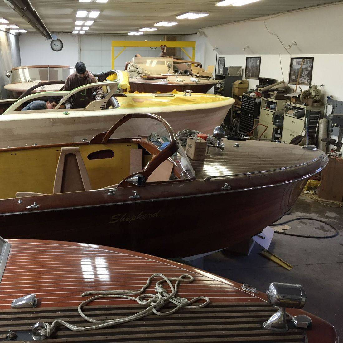 Shepherd restorations in wood shop at Bergersen Boat