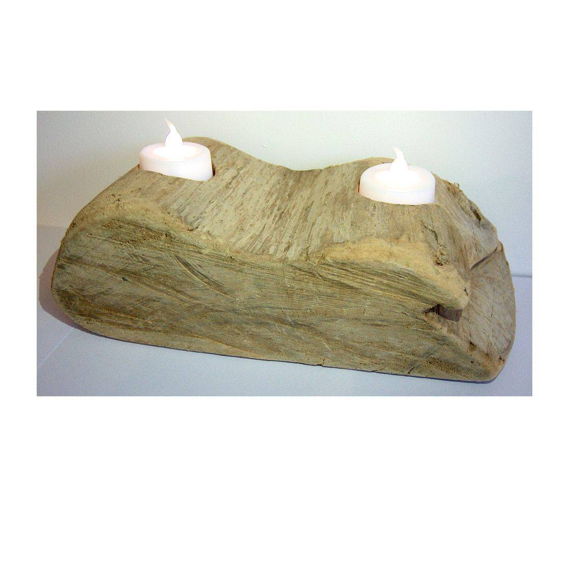 Driftwood log candle tea light holder 4