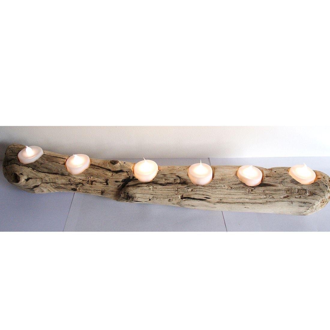 Driftwood log candle tea light holder 3