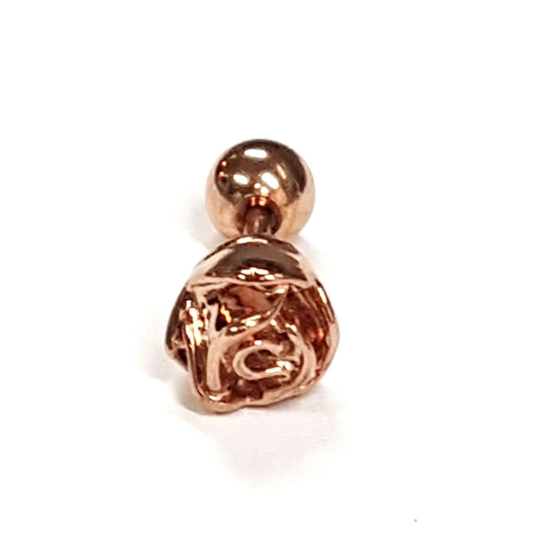 1.2mm x 6mm Rose Gold Rose ball back bar   available at Kazbah online and our Leicester City Centre Shop