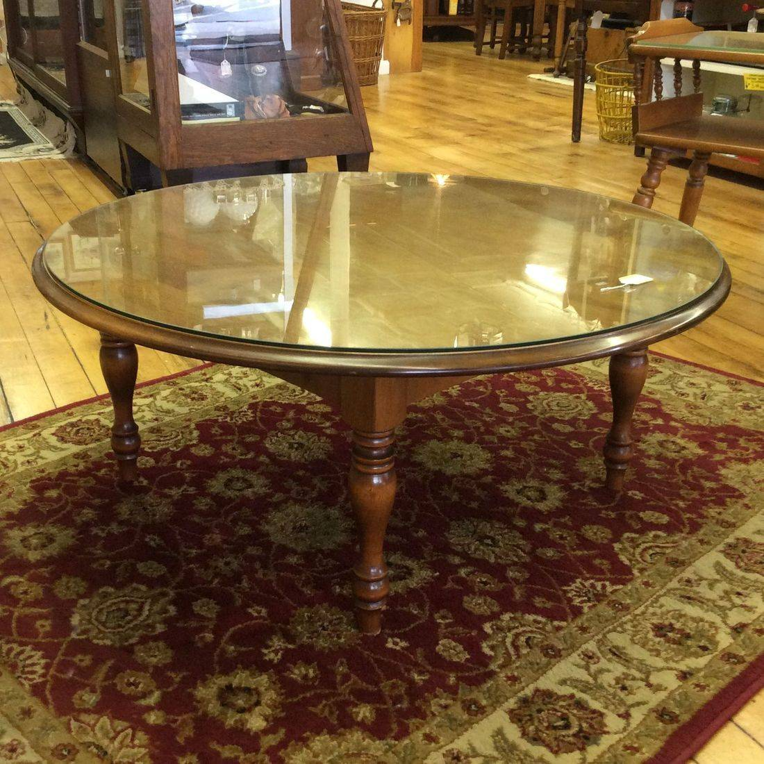 "Mid Century Modern Round Maple Coffee Table w/Glass Top 36""D x 15-1/2""H.  $95.00"