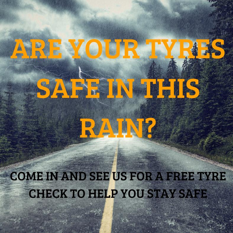 Rain tyres, safe, skidding