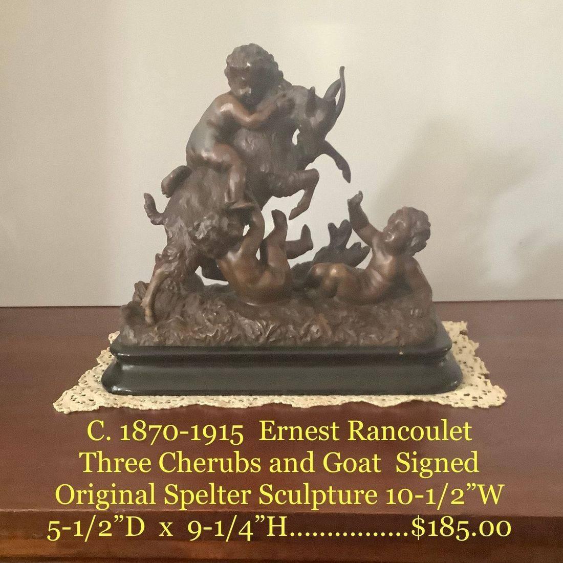 C. 1870-1915 Ernest Rancoulet Three Cherubs and Goat Signed Original Spelter Sculpture   $185.00