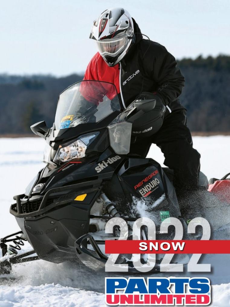 Snowmobile racing across lake