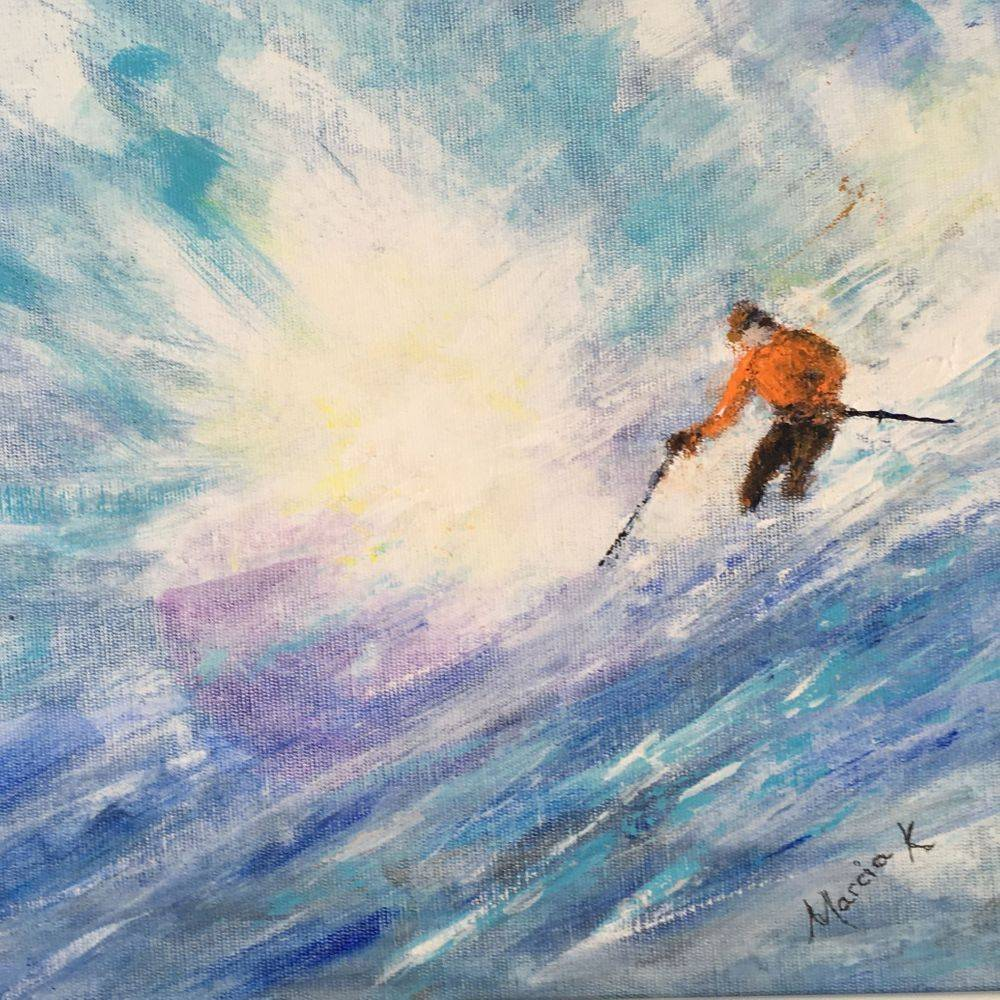 Skier. Acrylic painting by Marcia Kuperberg