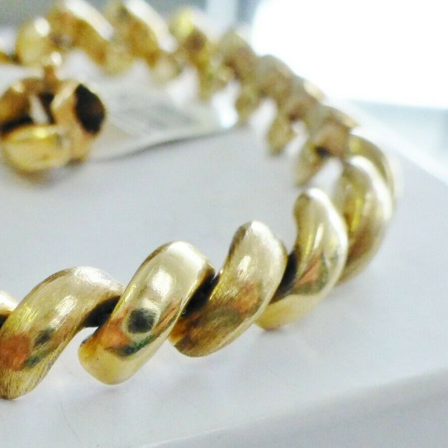 yellow gold san marco bracelet with alternating brushed and polished macaroni links