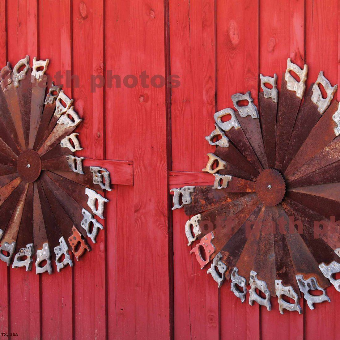 photography, saws, tools, antiques, barn door, rusty, country, farm, red