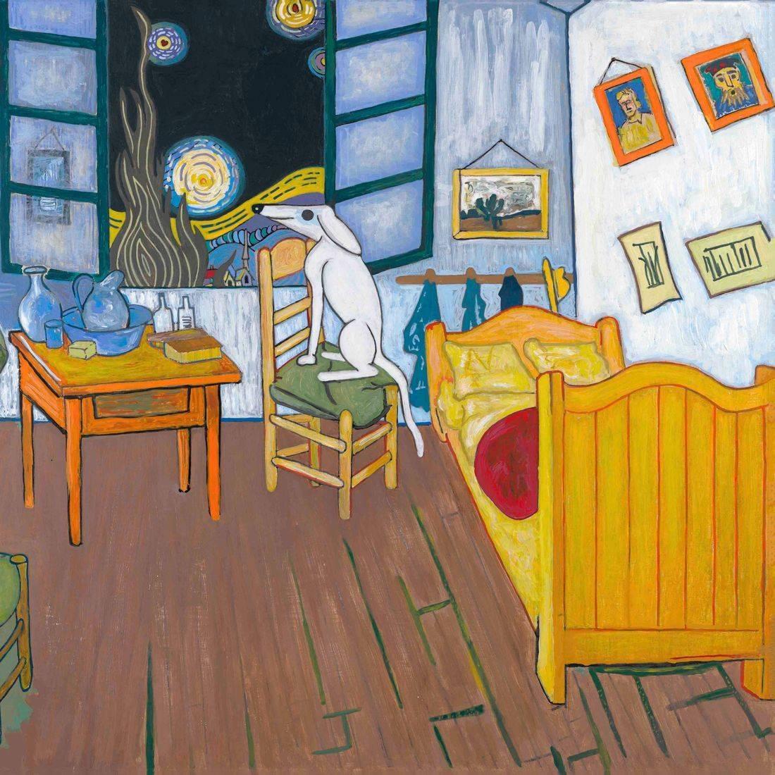 Vincent Van Gogh, The Bedroom, Starry Night, Dog, Pet, Artists' Pets, Man's Best Friend