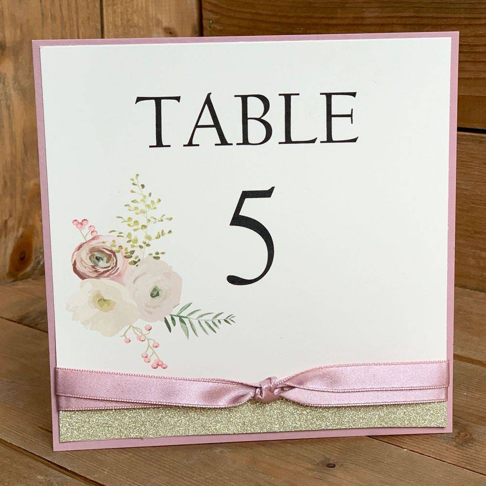 Dusky Pink, Ivory and Gold glitter Wedding Table Name/number card
