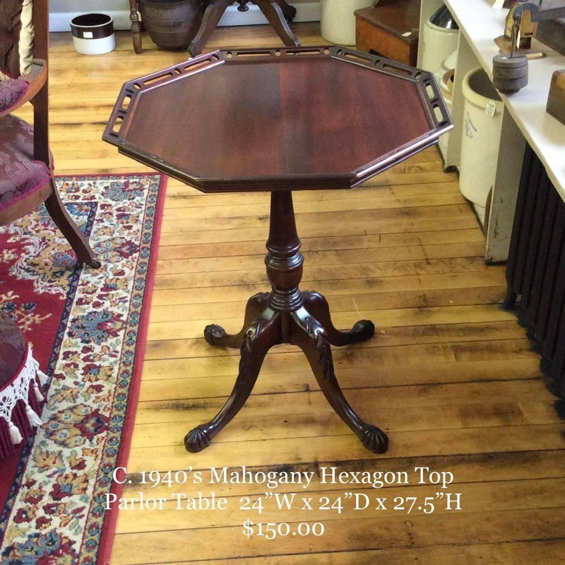 """C. 1940's Mahogany Hexagon-Top Parlor Table 24"""" x 24"""" x 27-1/2""""Hgt.   $150.00"""