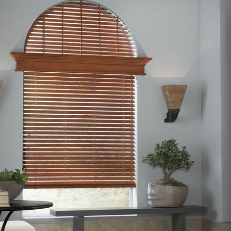 Hunter Douglas specialty window size, arch window treatment, Parkland wood blinds