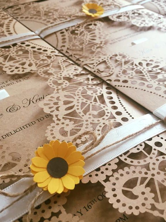 lasercut wedding invitations, wedding invitations, sunflower wedding invitations