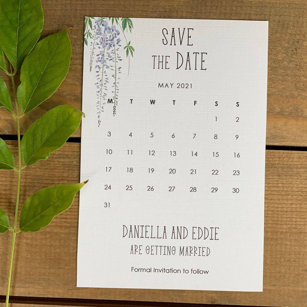 White and lilac Save the Date card with Wisteria