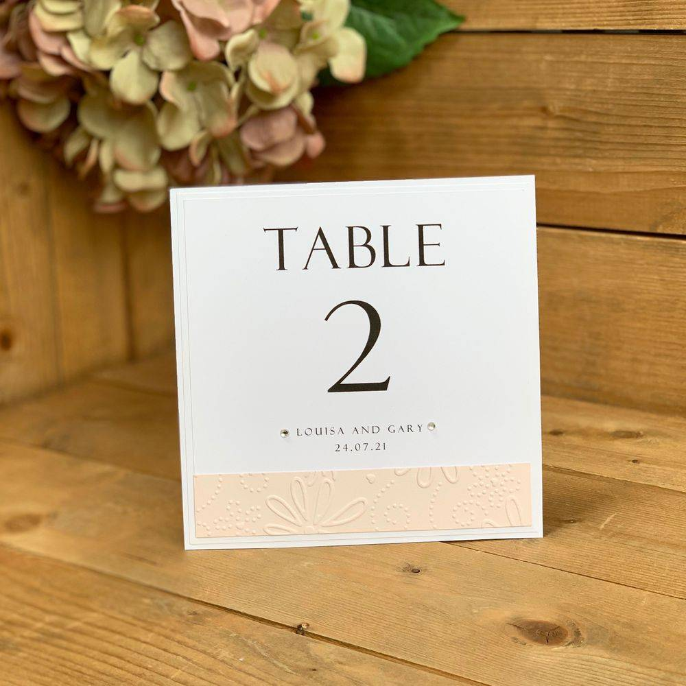 White and Blush pink table number card