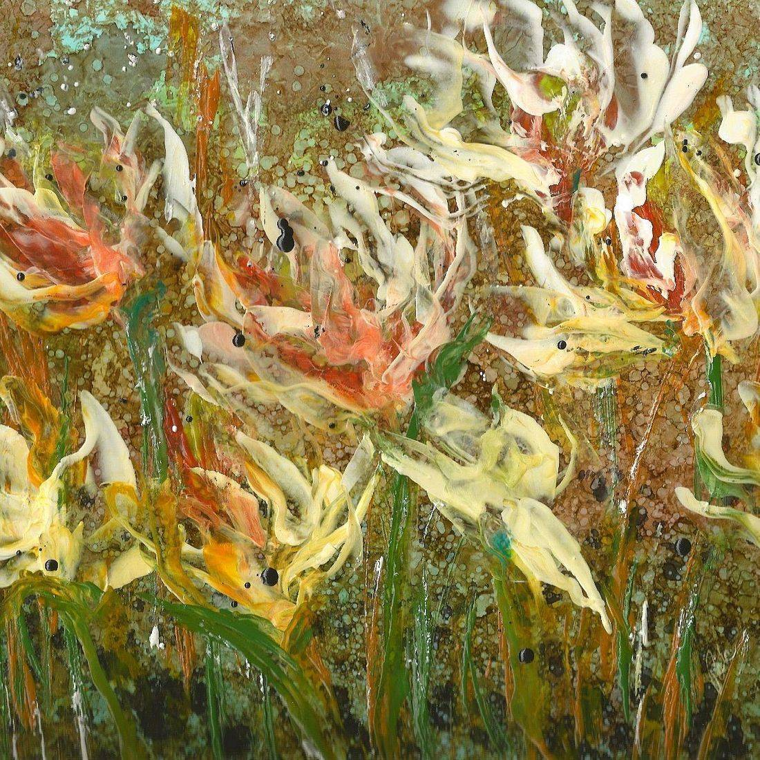 Abstract Encaustic Oil Painting, Floral artwork, Encaustic floral, encaustic and alcohol ink fine art print