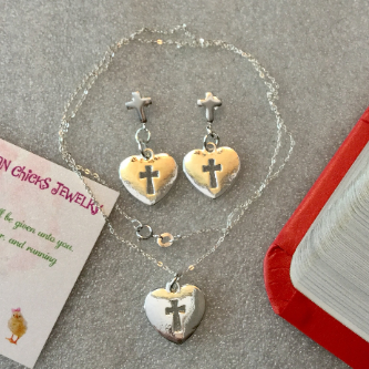 925 Cross/Heart Necklace and Earrings  (Necklace 925 Sterling Silver) 1