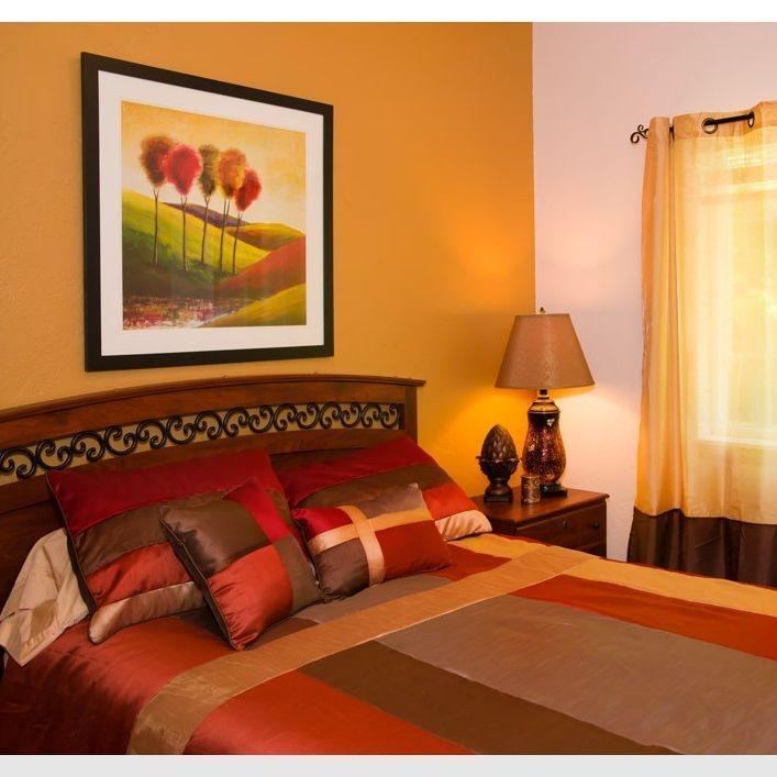 An orange bedroom