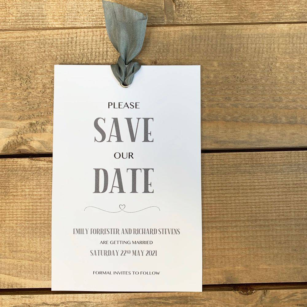 White and slate grey save the date card