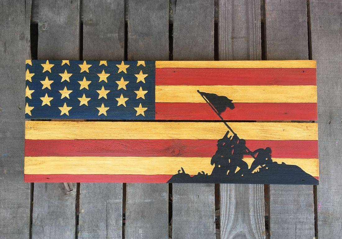 American Flag Handmade Reclaimed Pallet Wood Military Sign Iwo Jima