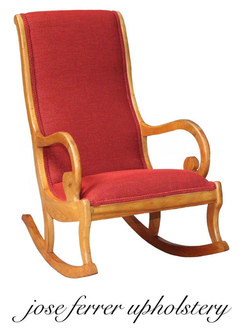 pullover rocking chair finished in red fabric