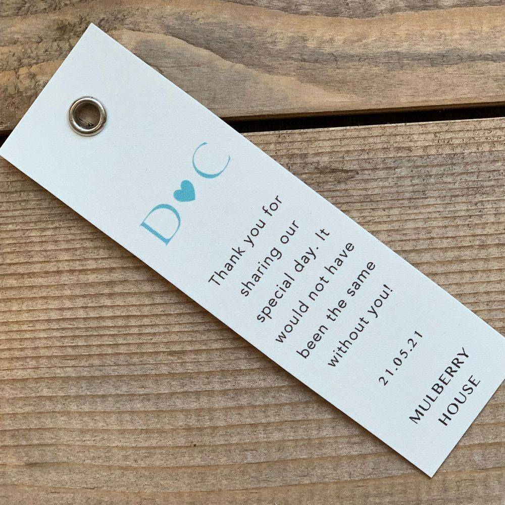 Personalised favour tags, ivory and teal