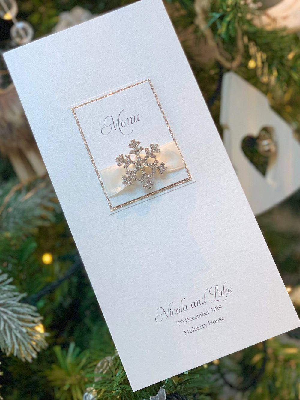 Luxury Menu card in ivory with champagne gold glitter and crystal snowflake