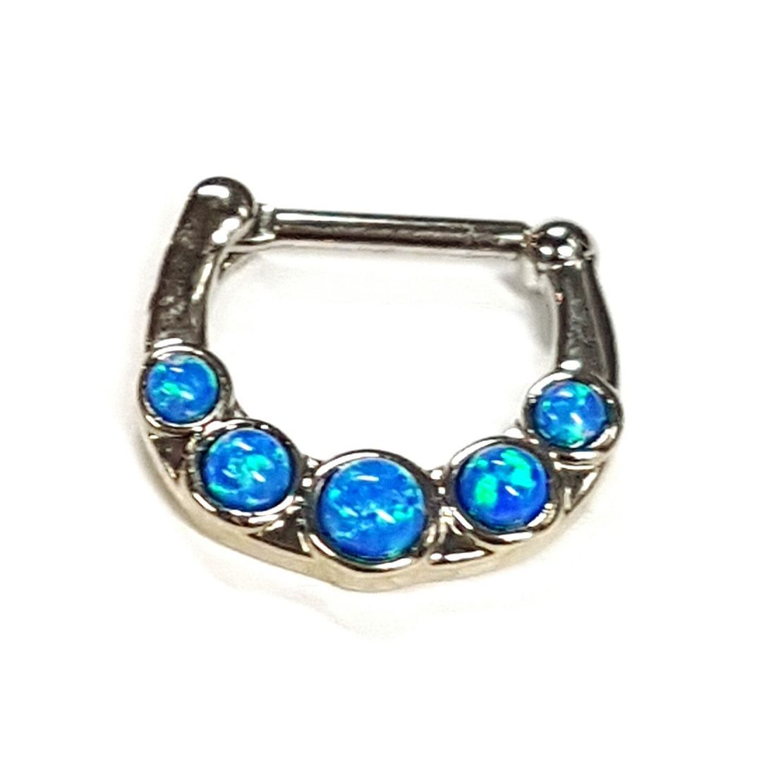 1.2 5 Stone Blue Opal titanium septum clicker  available at Kazbah online and our Leicester City Centre Shop