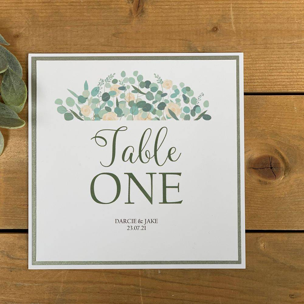 Ivory Roses and Eucalyptus Table Number Card