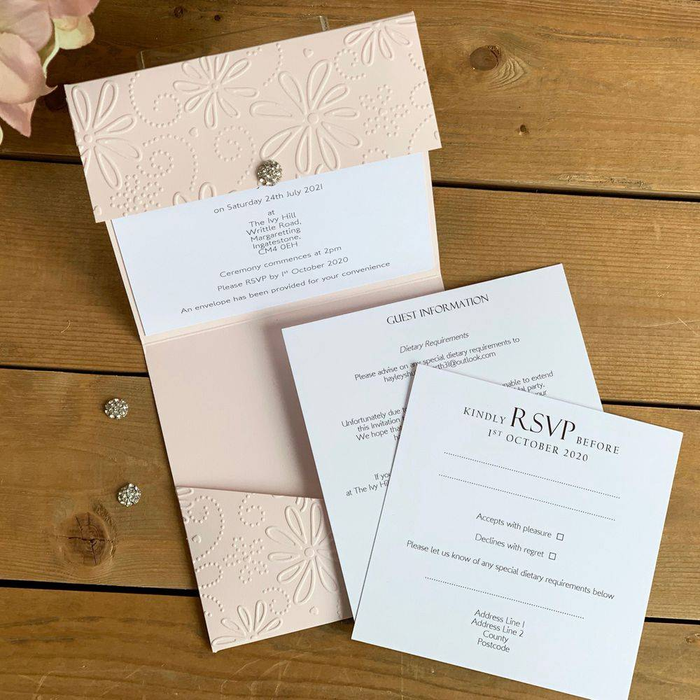 Blush Pink Embossed Pocket Invitation with white inserts and crystal cluster