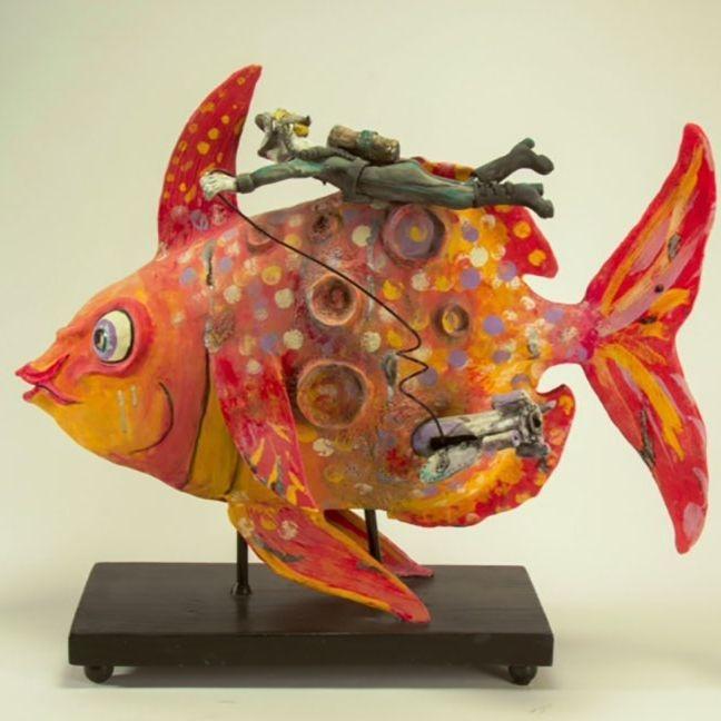"""CMiles -Moonfish Landing, earthenware, 24""""x36""""x12"""" (sold)"""