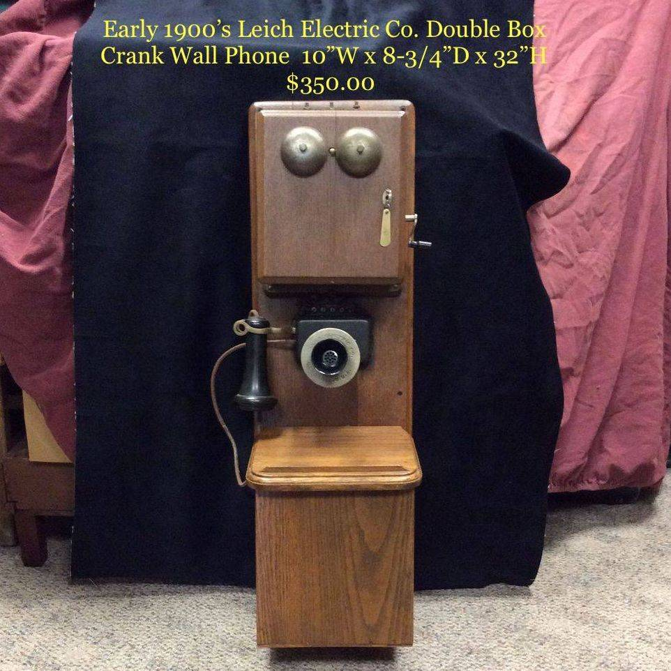 Early 1900's Leich Electric Co. Double Box, Crank Wall Phone   $350.00