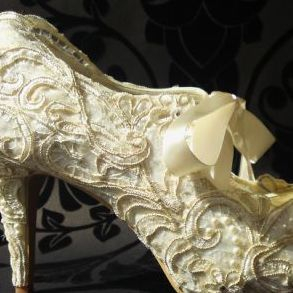 ivory gold lace customised wedding shoes pearls ribbon ties nicky rox