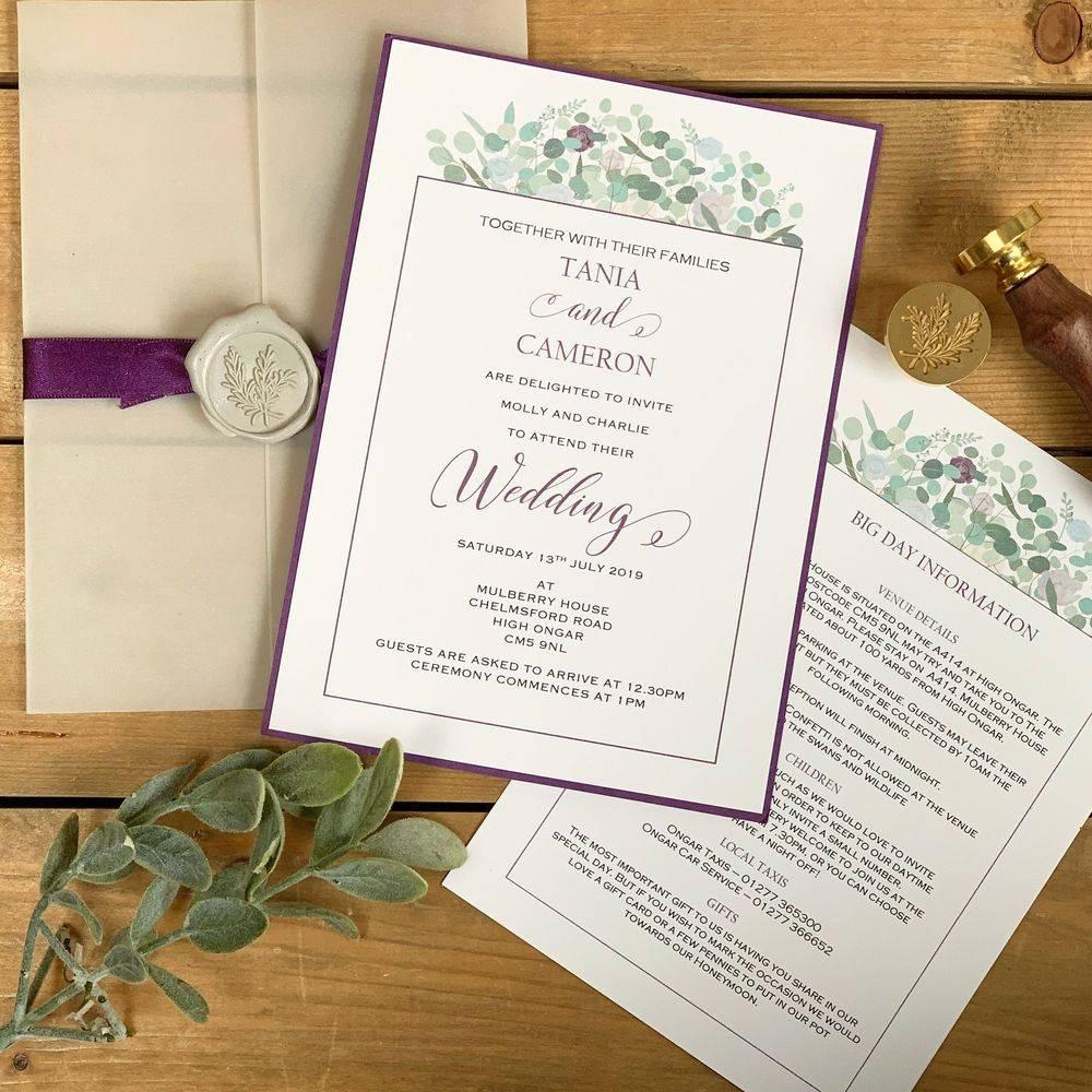 Wax Sealed Wedding Invite, purple, lilacs, sage greens, white