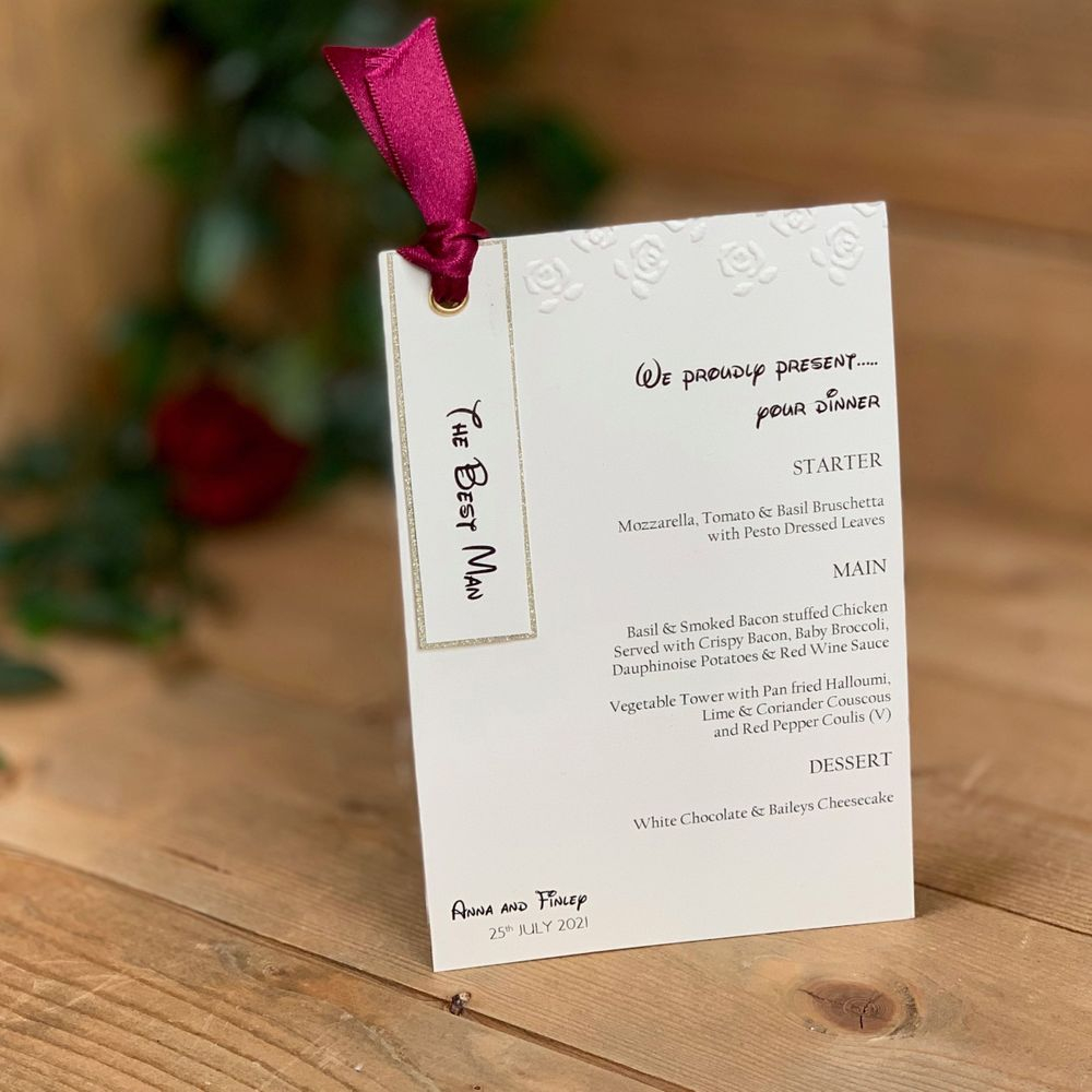 Disney Wedding Stationery, Beauty and the Beast , ivory with embossed roses, menu card with place name attached