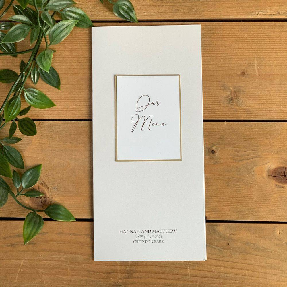 White and Gold Wedding Table Menu Card with personalisation